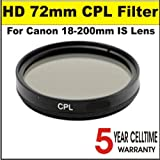 High Definition 72mm Circular Polarizer Filter for Canon 18-200mm IS Lens + 3 Year Celltime Warranty