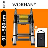 WORHAN 5.6m (18' 5'') Double Telescopic Foldable Extendable Multipurpose Aluminium A Frame Ladder Step Ladder with Stabilizer