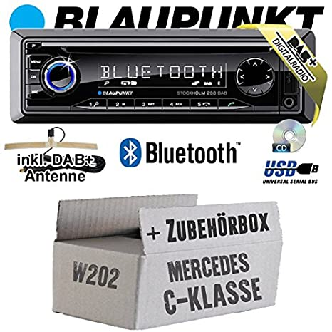 Mercedes C-Klasse W202 - BLAUPUNKT Stockholm 230 DAB - DAB+/CD/MP3/USB Autoradio inkl. Bluetooth - Einbauset