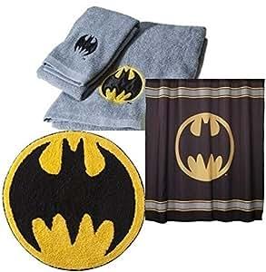 batman bathroom accessory set shower curtain