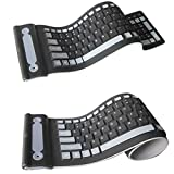 2.4GHZ Wireless Waterproof Flexible Roll Up Silicone Rubber Keyboard (Color: black)