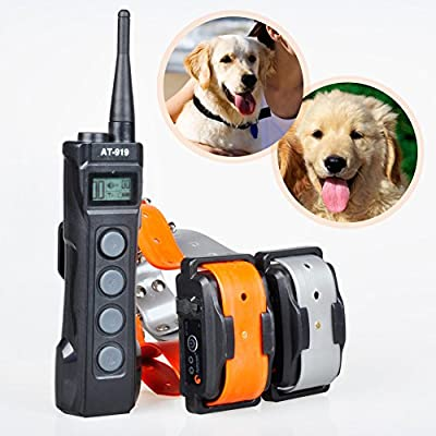 Aeteretk AT-919 1000M Range Remote Dog Training Collar Shock Beep Tone Vibration and Auto No Bark for 2 Dogs