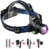 Waterproof LED Flashlight , Cree XM-L T6 Beam , 3 Modes , Adjustable Thick Head Strap , Outdoor Rechargeable Headlamp Headlight , Head Light Lamp Torch for Camping Hiking Fishing BBQ Repairing Night Walking Morning Running