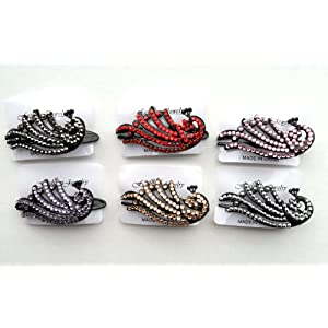 Rhinestone Bling Hair Clip with Peacock Set of 6 Assorted Colors for every outfit!