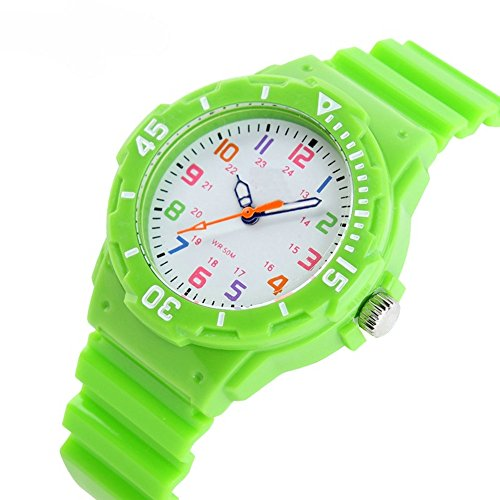 Boys Girls Colorful Analog Resin Waterproof Strap Sport Watches Green