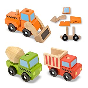 Amazon.com: Melissa & Doug Stacking Construction Vehicles: Toys & Games