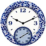 Home - Springfield  91502 14 Poly Resin Mosiac Sea Clock with Thermometer