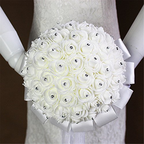 Zebratown 7.5 Inch White Crystal Roses Bridal Bridesmaid Wedding Bouquet Artificial Silk Flowers Foam Artificial Flowers