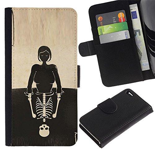 ZCell / Apple Iphone 4 / 4S / Skull Girl Reflection Deep Meaning / Wallet Custodia Portafoglio Snello Caso Case Cover Armor / Cranio Girl Rifles