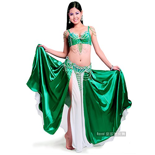 OverBling Sequins Beads Dance Outfit Sexy Belly Dance Costume Set Top Belt Skirt