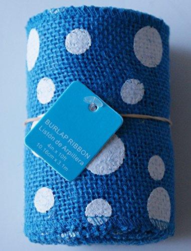 "Blue Polka Dot Burlap Ribbon Roll - 4"" x 10"