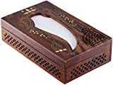 SouvNear Wooden Tissue Box Cover with Decorative Brass Inlay Work - Unique, Beautiful, Rectangular Wood Tissue Holders - Handmade Holiday Gifts from India