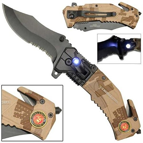buy Rogue River Tactical 5-in-1 Multitool Pocket Rescue Combat Knife with Line Cutter, Belt Clip, LED Light, Belt Cutter and Window Breaker USMC Marine Corps Multi Tool Spring Assisted for sale
