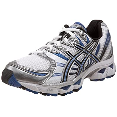 ASICS Men's GEL-Nimbus 12 Running Shoe,White/Black/Royal,8 M US