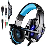 AFUNTA Gaming Headset for PlayStation 4 PS4 Tablet PC iPhone 6/6s/6 plus/5s/5c/5, 3.5mm Headphone with Microphone LED Light - Black + Blue