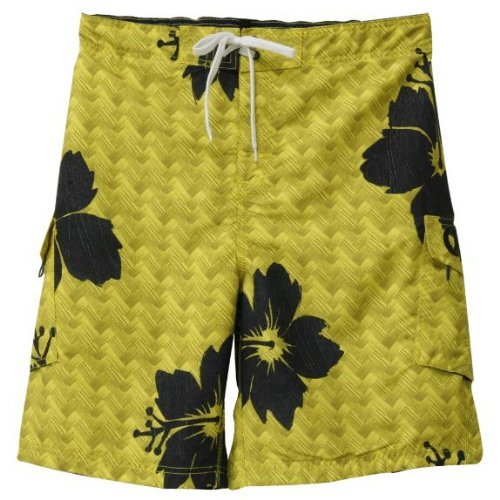 Old Glory Mens Corona - Floral Board Shorts - Medium Yellow