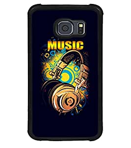 Fuson Premium Music Metal Printed with Hard Plastic Back Case Cover for Samsung Galaxy S6 Edge