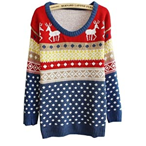 Women Girls Fashion Deer Dot Deer Jubilant Blue Sweater