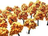 森 林 木 ジオラマ 50本 セット 3cm 材料 鉄道 建築 模型 風景 箱庭 (だいだい色)