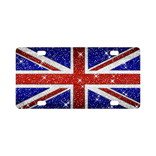 British Britain Flag Union Jack Aluminum Car Metal License Plate for Car Four Holes Car Tag 12