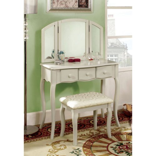 Furniture Of America Furniture Of America Lerraine Bedroom Vanity Set - White, White, Wood Vanities front-1002753