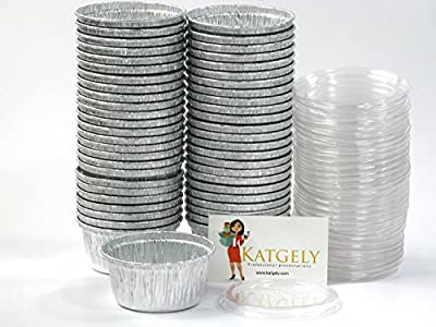 Katgely Utility Cup with Plastic Lid 4 Ounces for Baking and Take Out