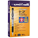 uni-ball 207 Impact Stick Rollerball Gel Pen, Bold Point, Black Ink, Pack of 12