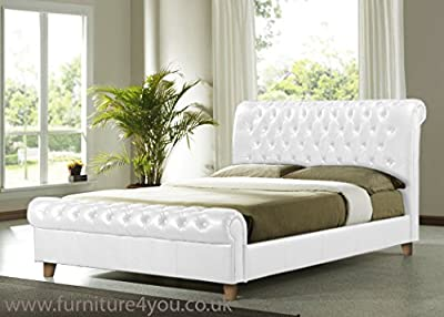 Richmond 4ft 6 Double White Faux Leather Bed