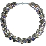 CleverEve 2014 Designer Series Sterling Silver Multi-Gemstone & Freshwater Dyed Cultured Pearl Necklace 20