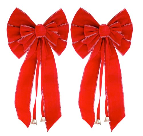 Silver Trimmed Red Velvet Wreath Bow 2-Pack - 10-Inch By 21-Inch
