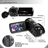 Besteker Protable HD 1080p 24.0 Megapixels Enhanced 16X Digital Zoom Video Camcorder DV Touch Screen HDMI Recorder with Remote Control and 12x Teleconverterm Wide Angle Lens
