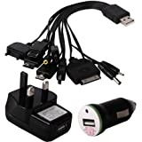 Shop4 Universal 10 in 1 Mobile Phone / MP3 Player USB Data Sync Charger Cable with In-Car and UK Mains Plug Adapters