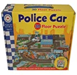 CHILDRENS TODDLER GIANT FLOOR JIGSAW PUZZLES CARRY CASE TOY (3D POLICE CAR)