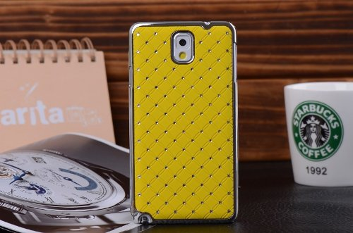 Maclogy 2014 Latest Fashion Design Luxury Dazzling Rhinestones Shiny Crystal Diamond Plating Protective Shell Trapped Difficult Cases Samsung Galaxy Note3 Note 3 Iii N9000 N9002 N9005 N9009 And Fashion Chain Crystal Ornaments Color Uv Radiation Gifts (Yel