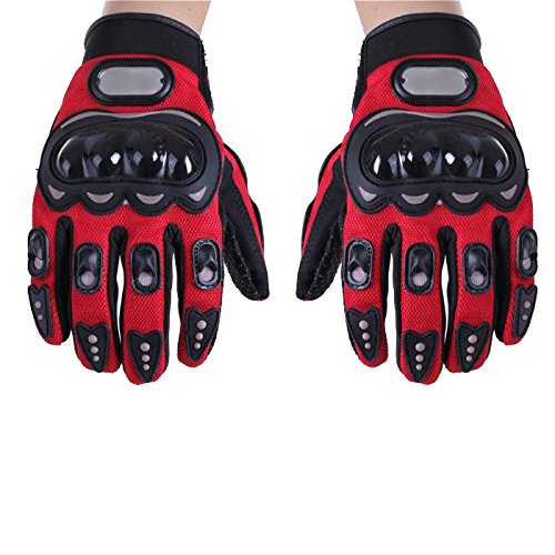 SODIAL (R) Un paio di guanti rossi dita completa protezione XXL Moto Sport Donna Uomo