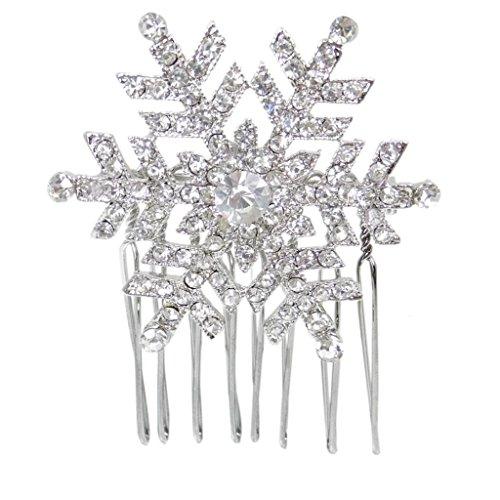 EVER FAITH Christmas Gifts Winter Snowflake Hair Comb Clear Austrian Crystal Sil…