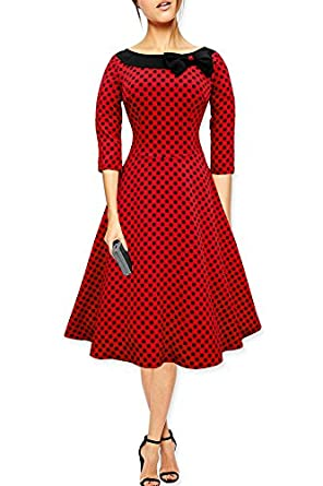 Black Butterfly Polka Dot Collared Vintage 1950's Rockabilly Swing Evening Dress (Red - Black Dots, 8)