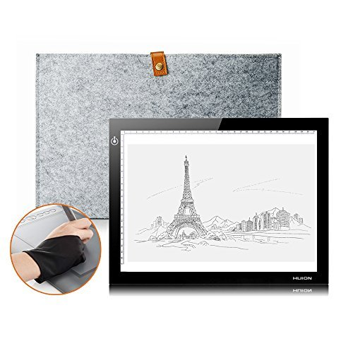 Huion L4S LED Light Pad Ultra-thin USB Power 6000--7000K Tracing light box Light Pad with Wool Liner Bag and Two Finger Glove for Artcraft Tracing (Quilting Finger Pads compare prices)