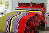 Trance Duvet Cover Queen Printed Multi Color Stripes with 2 pillow covers