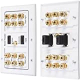 Fosmon [3-Gang 6.1 Surround Distribution] Home Theater Wall Plate - Premium Quality Gold Plated Copper Banana Binding Post Coupler Type Wall Plate for 6 Speakers, 1 RCA Jack for Subwoofer & 2 High Speed HDMI Ports with Ethernet (White)