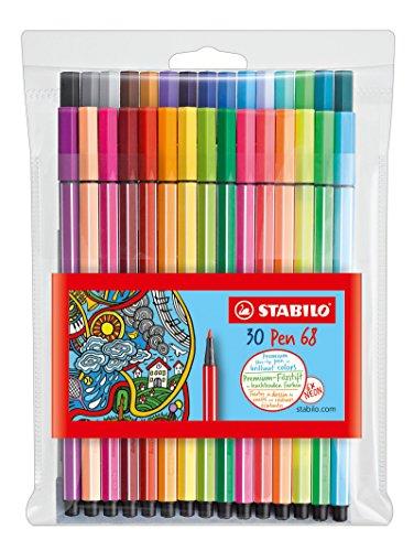 stabilo-pen-68-pochette-de-30-feutres-pointe-moyenne-dont-6-couleurs-fluo