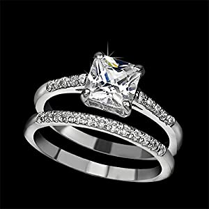 UMODE Jewelry 1.6 Carat Princess Cut Zirconia 2 Bands Engagement Wedding Ring Set for Women (7.5) by yiwu xilin trading company ltd.