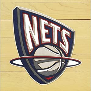 NBA Floor Piece with Logo Team: New Jersey Nets by Mounted Memories