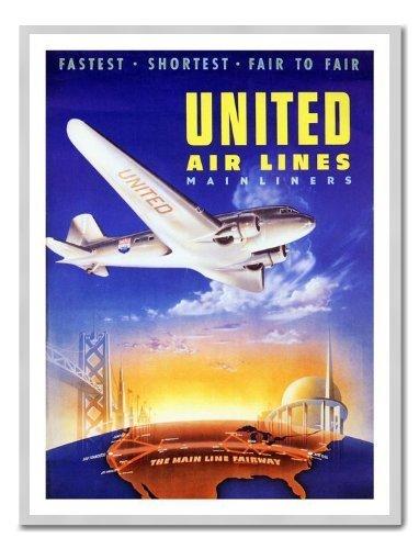 united-airlines-1939-poster-de-voyage-tableau-memo-magnetique-imprime-cadre-argente-41-x-31-cm-envir