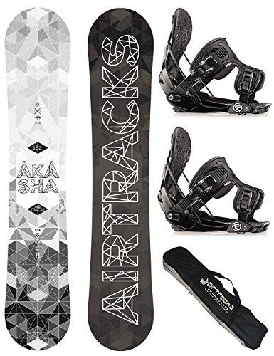AIRTRACKS SNOWBOARD SET / AKASHA SNOWBOARD WIDE ROCKER + BINDUNG FLOW FIVE + SB BAG / 152 157 159 162 / cm