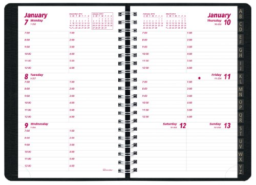 Brownline 2013 Weekly Planner, Twin-Wire, Black, 6 x 3.5-Inches (CB100J.BLK-13)