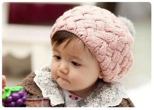 手編み風ニット帽 ベビー ニット帽 ボンボン付き (ベージュ)