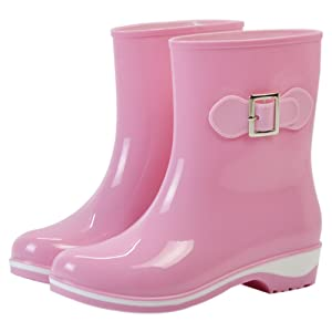 Women's Waterproof Rubber Jelly Anti-slip Rain Boot Buckle Ankle High Rain Shoes Pink US 7