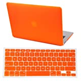 "HDE Frosted Matte Rubber Coated Hard Shell Clip Snap-On Case Skin Cover for Macbook Air 13"" w/ Matching Keyboard Skin (Orange)"