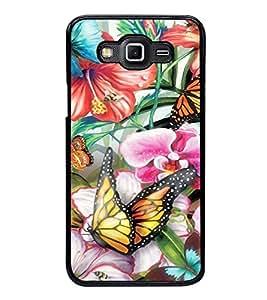 Fuson Premium 2D Back Case Cover Colourful butterfly With Black Background Degined For Samsung Galaxy E5::Samsung Galaxy E5 E500F